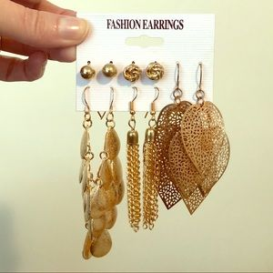 Fashion glam long and short gold plated earrings